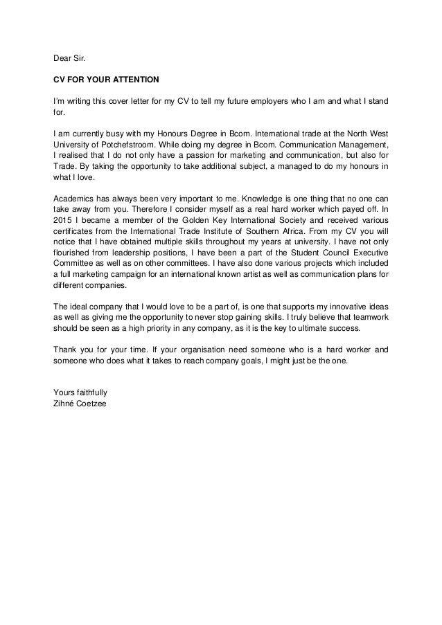 Zihné Coetzee CV & Cover Letter
