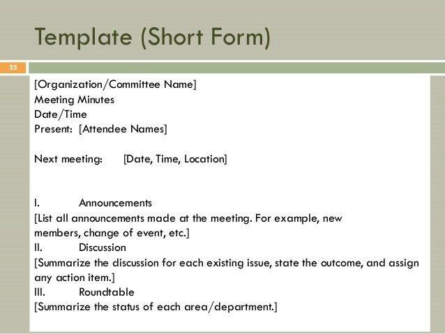 organization meeting minutes template