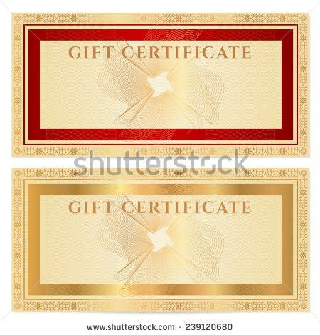Gift Certificate Voucher Coupon Template Guilloche Stock ...