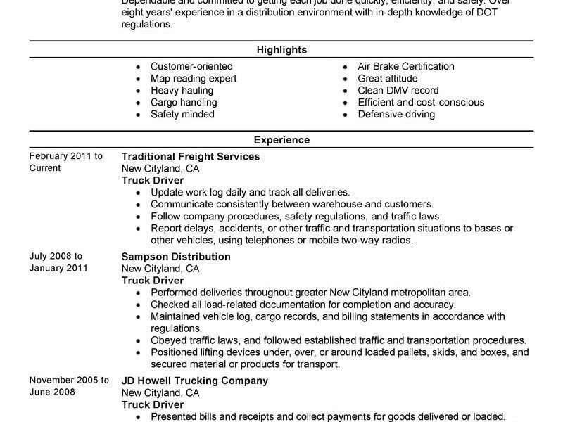 Sensational Inspiration Ideas Truck Driver Resume 8 Best Truck ...