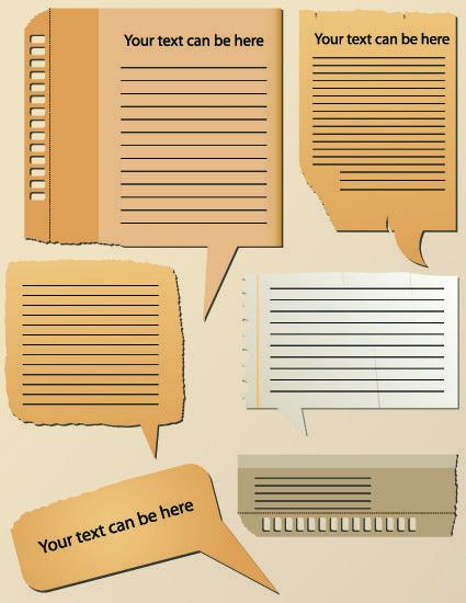 Vector set of Isolated tattered notebook paper 02 - Vector Label ...