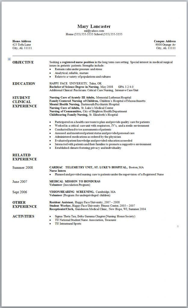 Resume Examples For Registered Nurse. Example Of Nurses Resume ...