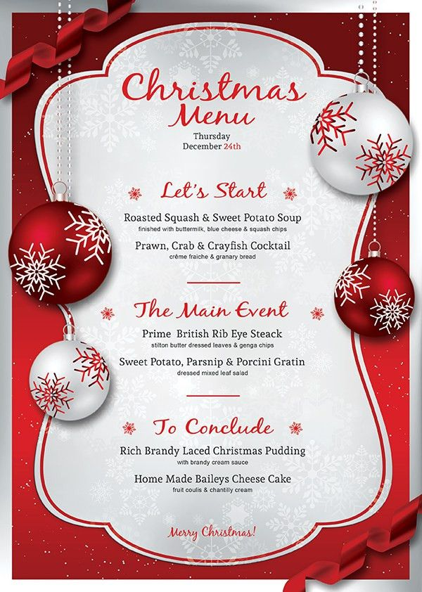 Free christmas dinner menu template free printable holiday dinner christmas eve menu template psd v4 pronofoot35fo Image collections