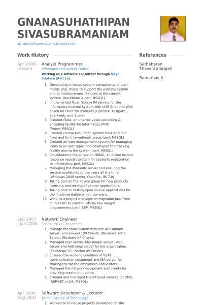 Analyst Programmer Resume samples - VisualCV resume samples database