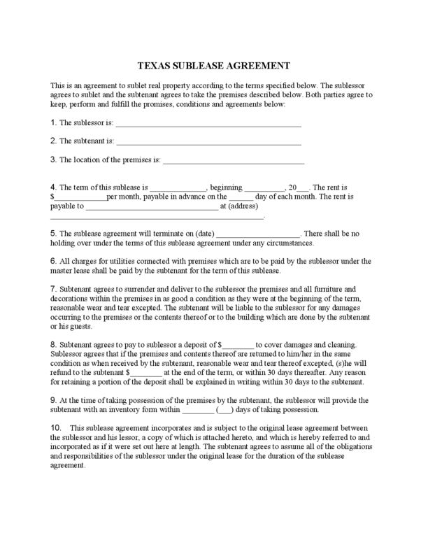 Texas Sublease Agreement | LegalForms.org