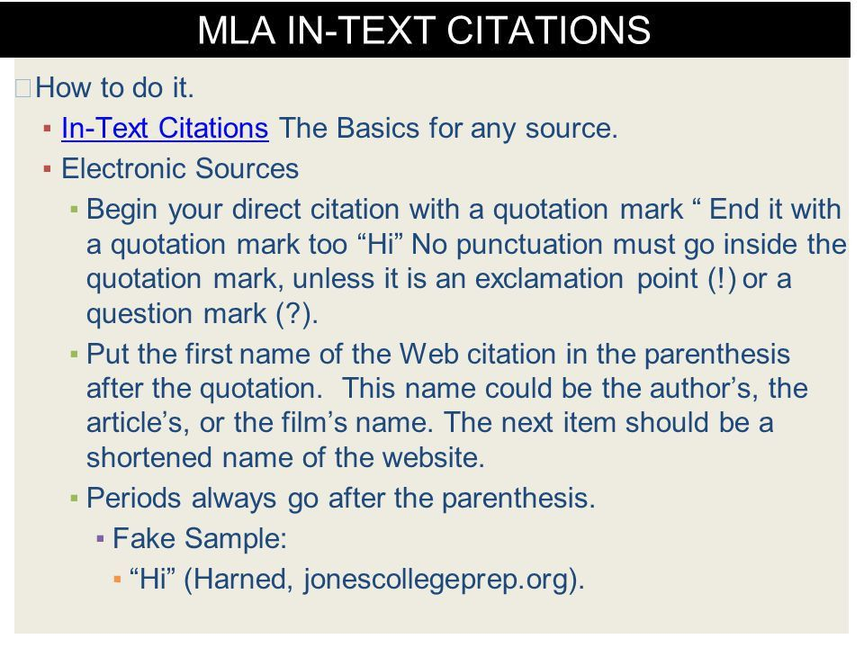 MLA FORMAT Resources, Sample Page, and Citation Examples. - ppt ...