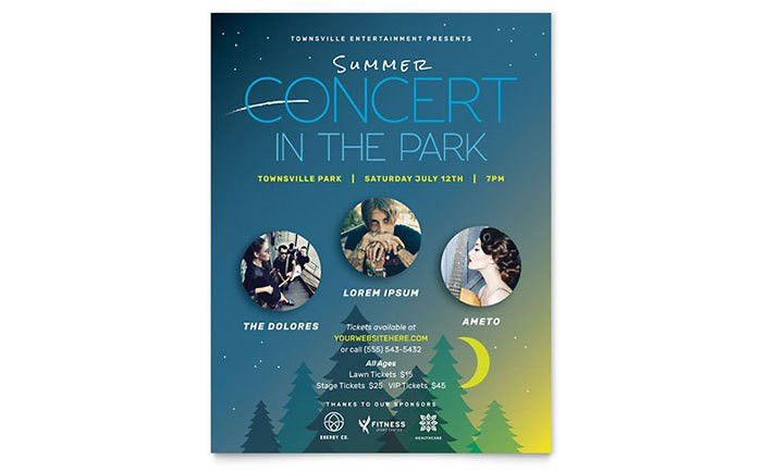 Summer Concert Flyer Template - Word & Publisher