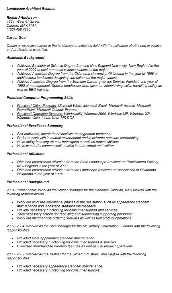 landscaping resume examples