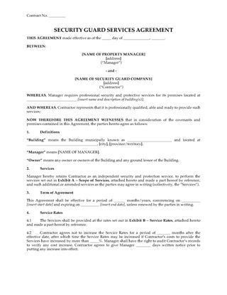 Security Firm Contracts | Legal Forms and Business Templates ...