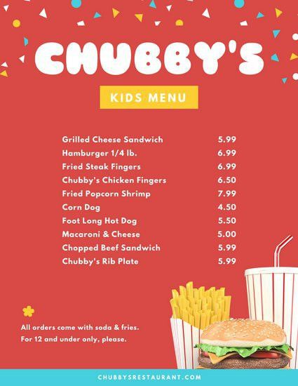 Red Confetti Burger Fries Fastfood Kids Menu - Templates by Canva