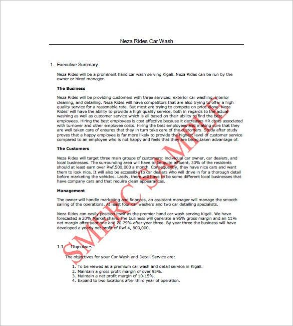 Car Wash Business Plan Template – 10+ Free Word, Excel, PDF Format ...