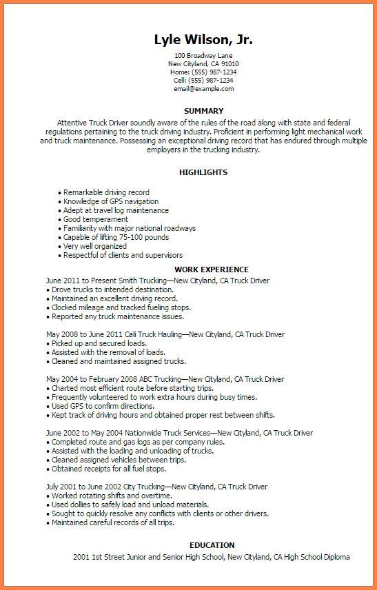 6+ professional truck driver resume | Professional Resume List