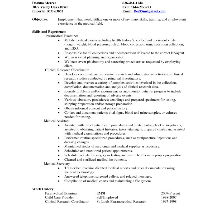 Medical Secretary Resume - Resume Example