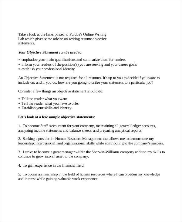 general resume objective statement examples project management