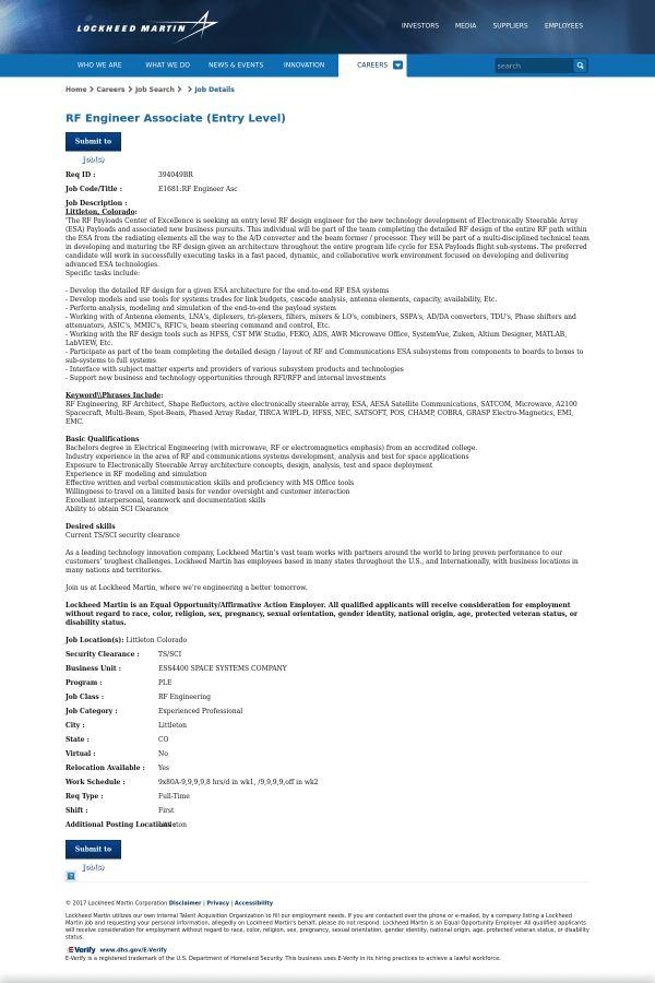 RF Engineer Associate (Entry Level) job at Lockheed Martin in ...