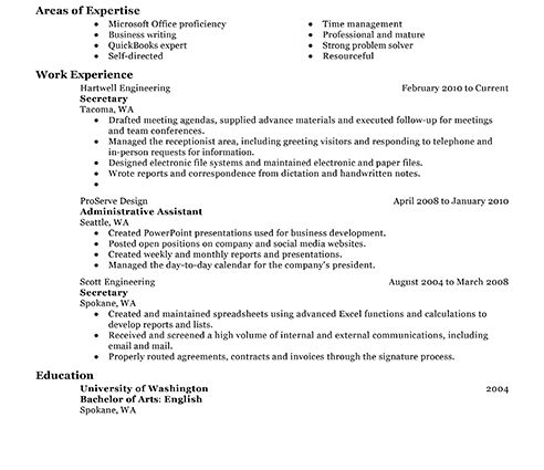 secretary resume example classic job resume examples no experience ...