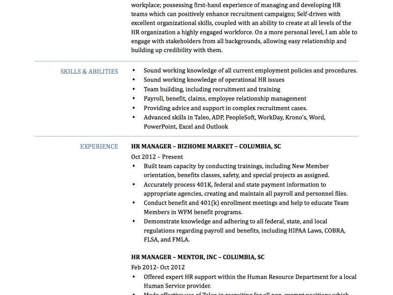 Human Resource Manager Resume - Resume Example