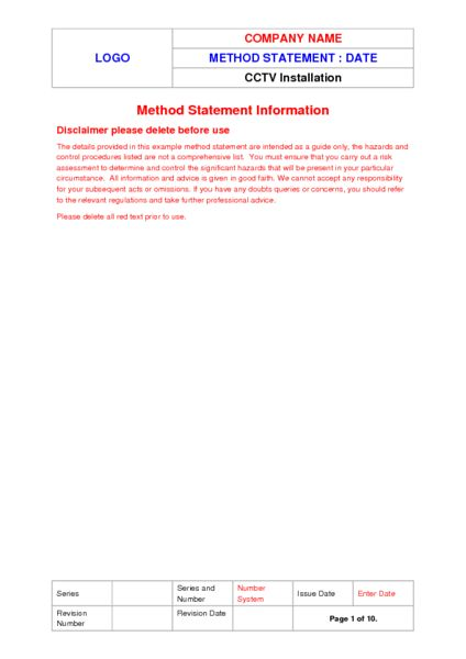 CCTV Installation Method Statement Example to Download