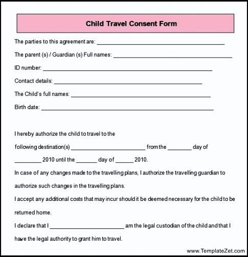 Sample Child Travel Consent Form | TemplateZet