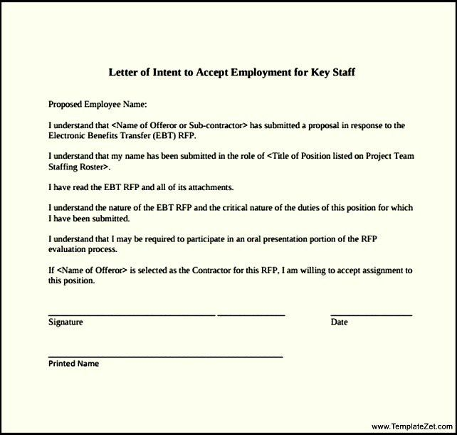Letter of Intent for a Job Transfer | TemplateZet