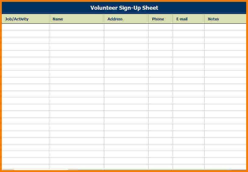 7 event sign up sheet template | Receipt Templates