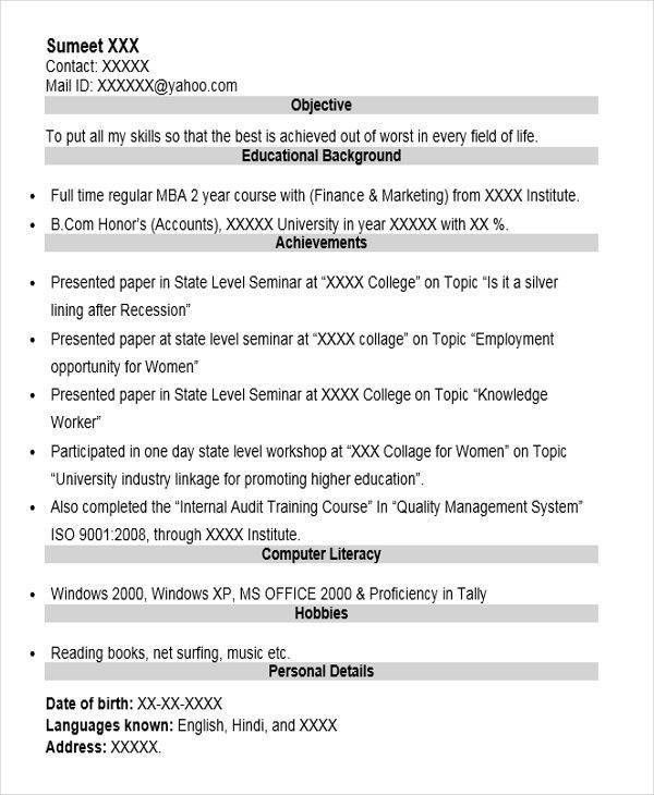 Fresher Lecturer Resume Fresher Lecturer Resume Templates 5 Free - lecturer resume objective