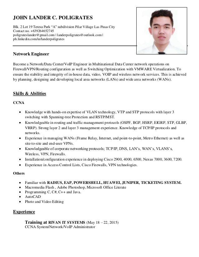 resume 2015 network engineer skills and abilities - Writing Resume ...