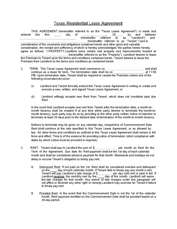 Texas Residential Lease Agreement   LegalForms.org