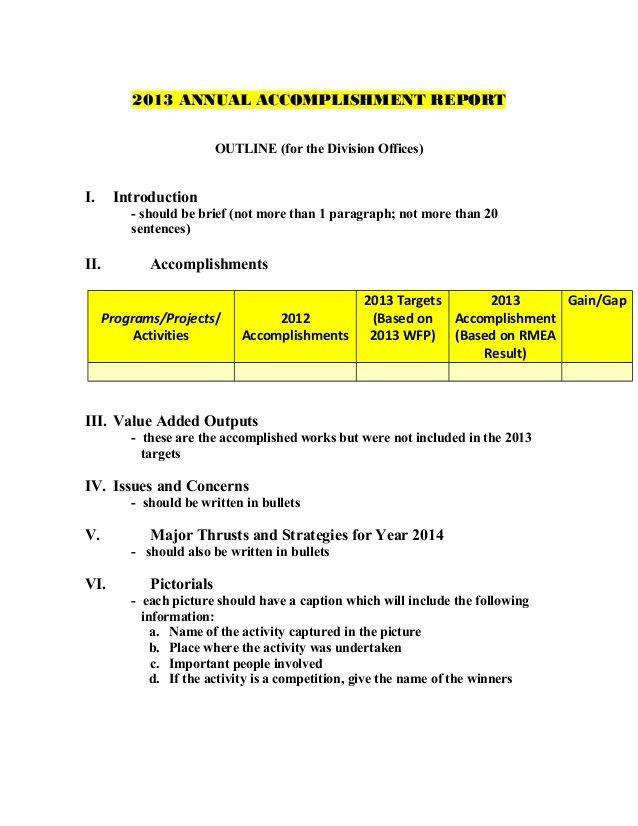2013 annual accomplishment report