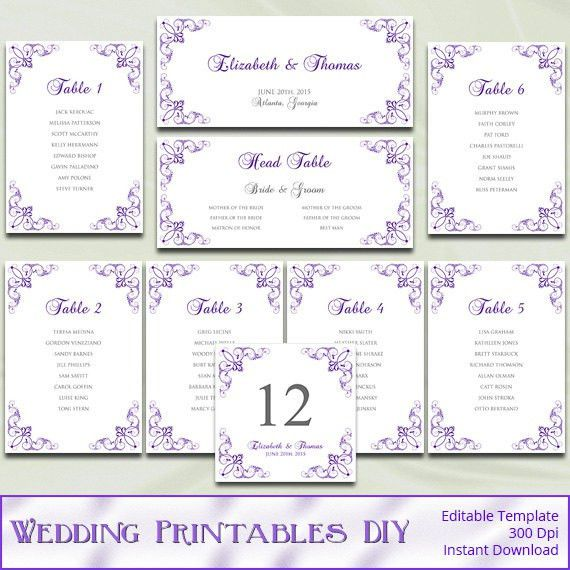 Items similar to Printable Wedding Seating Chart Template, Diy ...