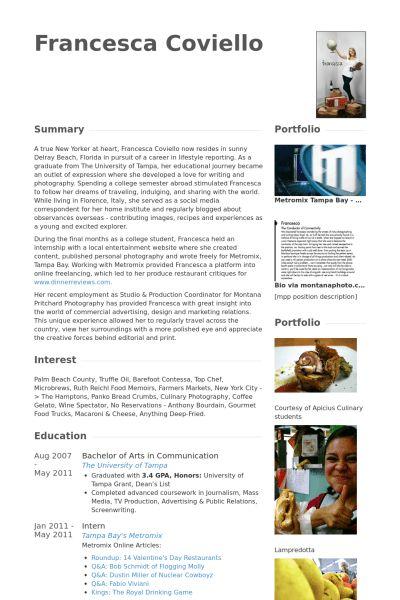 Photographer Resume samples - VisualCV resume samples database