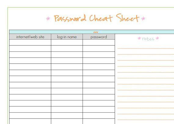 Items similar to PASSWORD CHEAT SHEET- full sized pdf template ...