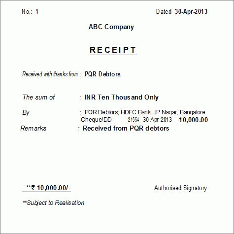 Printing Receipt Voucher as Formal Receipt in Tally.ERP 9