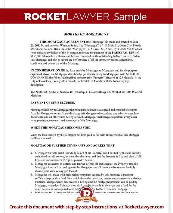 Mortgage Agreement Template - Mortgage Lien Form (with Sample)