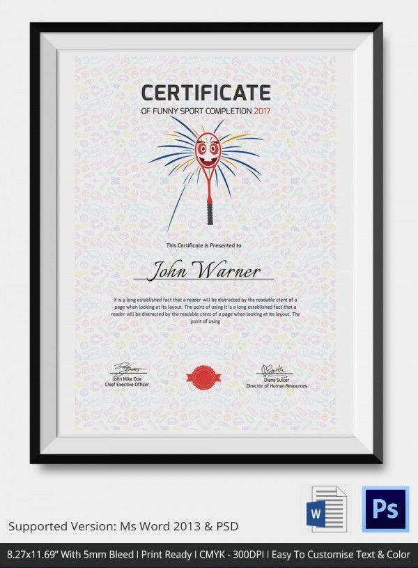 Funny Sports Certificate - 5+ Word, PSD Format Download | Free ...