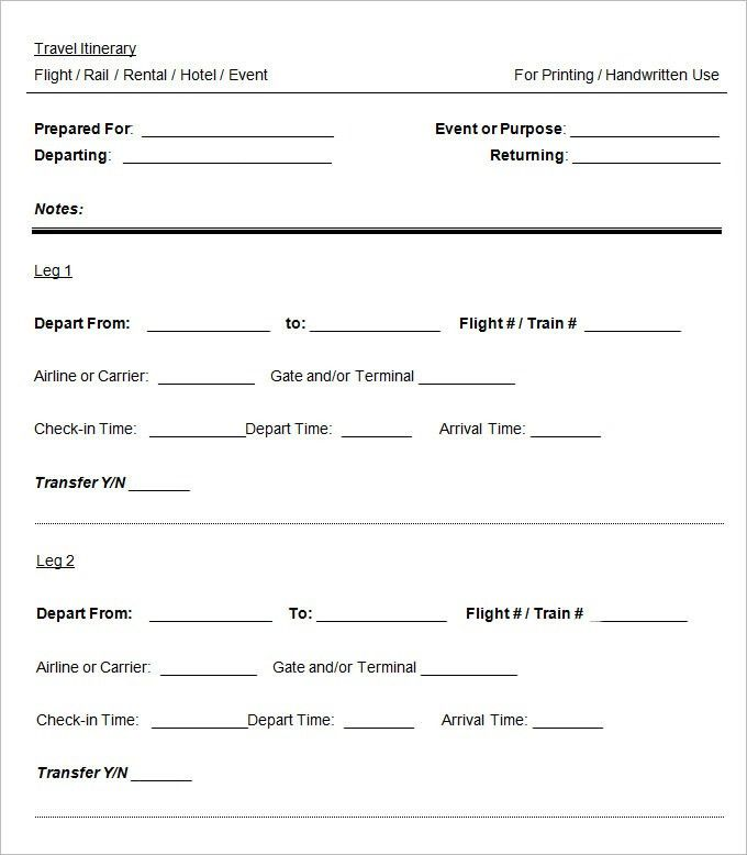 Blank Itinerary Template - 11 Free Word, PDF Documents Download ...