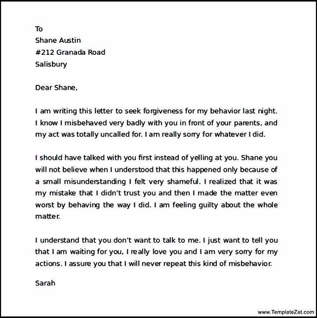 Apology Letter for Behavior Sample | TemplateZet