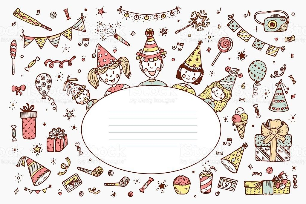 Happy Birthday Card Template Hand Drawn Doodle Birthday Party ...