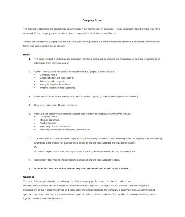 Company Report Template - 7+ Free Documents in Word, PDF, PPT