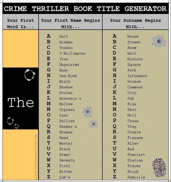 Book Title Generators – Tara Sparling writes