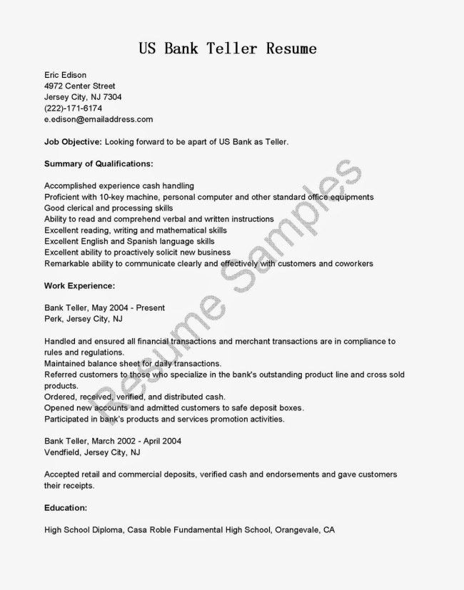 Bank Teller Resume Sample with Job Objective : Vinodomia