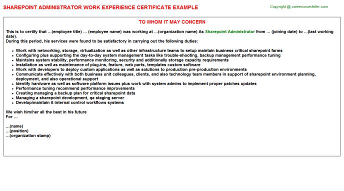 Sharepoint Administrator Work Experience Certificate