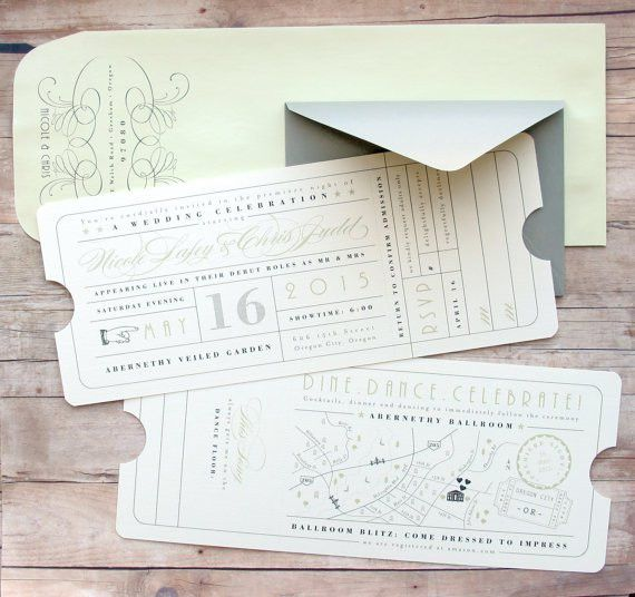 Ticket Wedding Invitation Hollywood Theater Movie by LetterBoxInk ...
