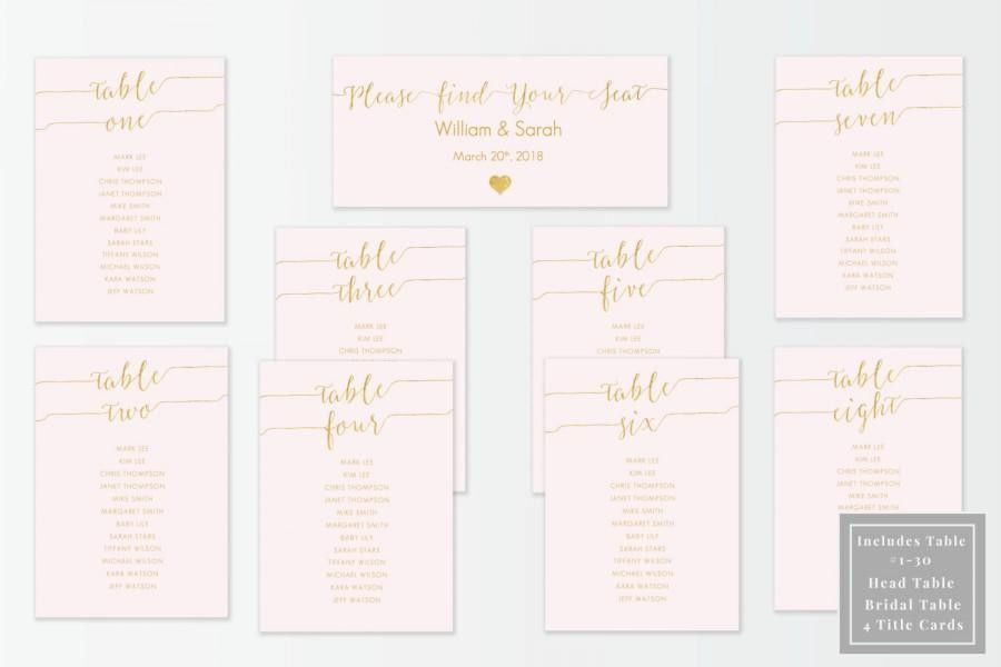 Blush And Gold Slant Seating Chart Kit - Printable DIY Template ...