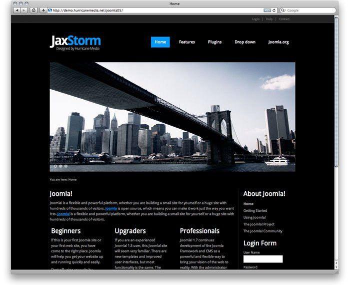 jaxStrom free responsive black joomla 3.x template - Responsive ...