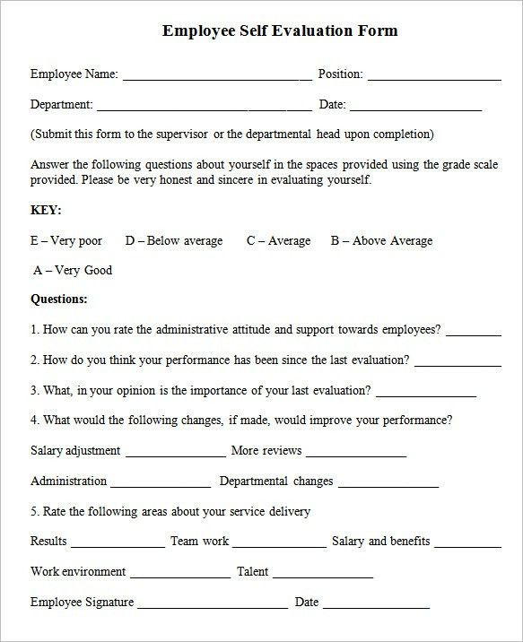 Sample Employee Self-Evaluation Form - 5+ Free Documents in PDF