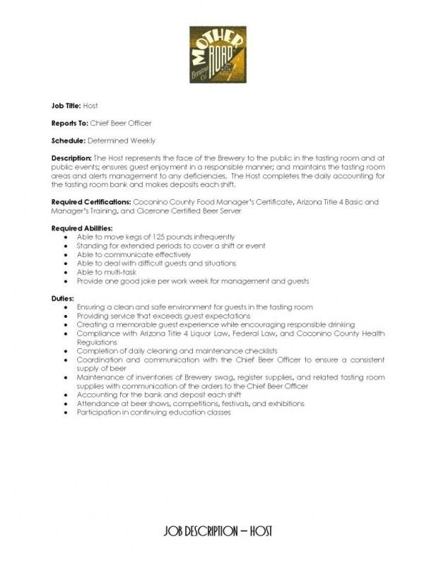 Hostess Job Description On Resume | Samples Of Resumes