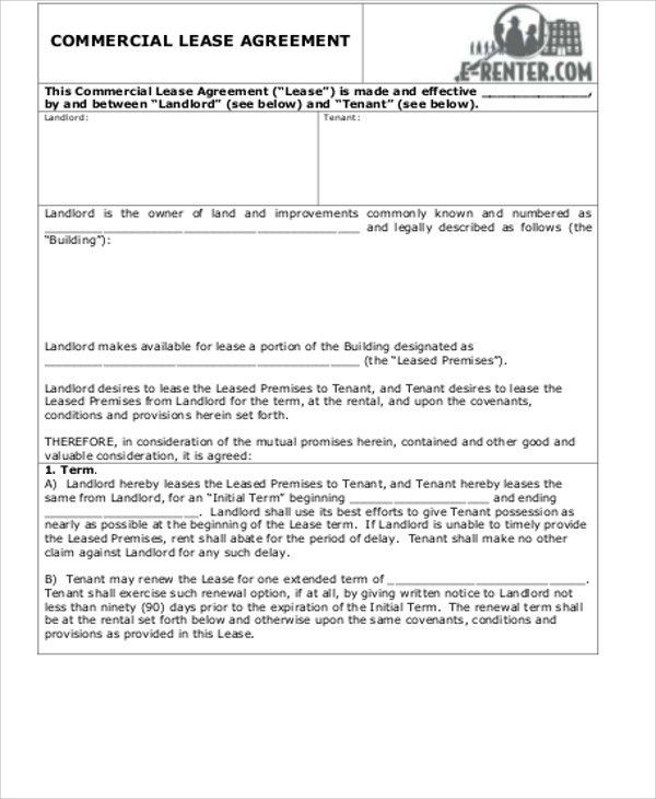 Simple Commercial Lease Agreement - 8+ Examples in Word, PDF