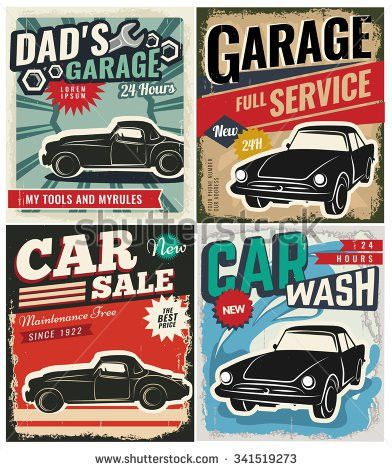 Vintage Retro Style Set Vector Cars Stock Vector 341522195 ...