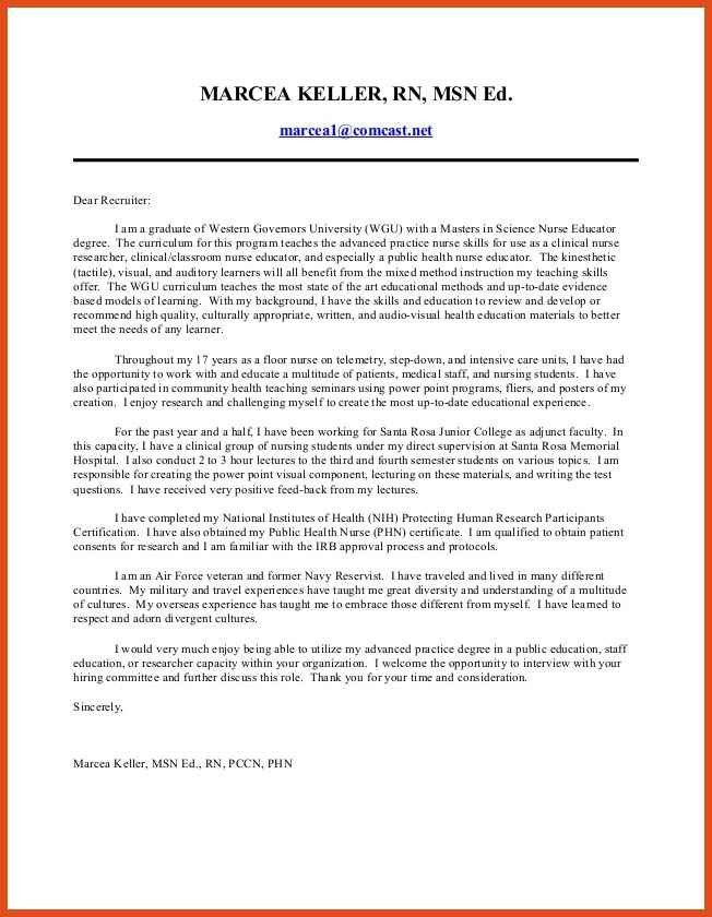 rn cover letter | moa format